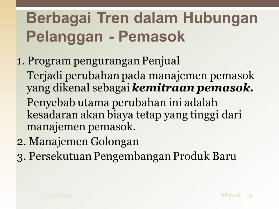Berbagai Tren dalam Hubungan Pelanggan - Pemasok 25/11/201419Mulyati 1.