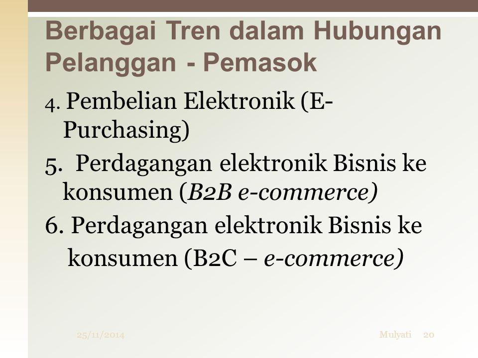 25/11/2014Mulyati20 4. Pembelian Elektronik (E- Purchasing) 5. Perdagangan elektronik Bisnis ke konsumen (B2B e-commerce) 6. Perdagangan elektronik Bi