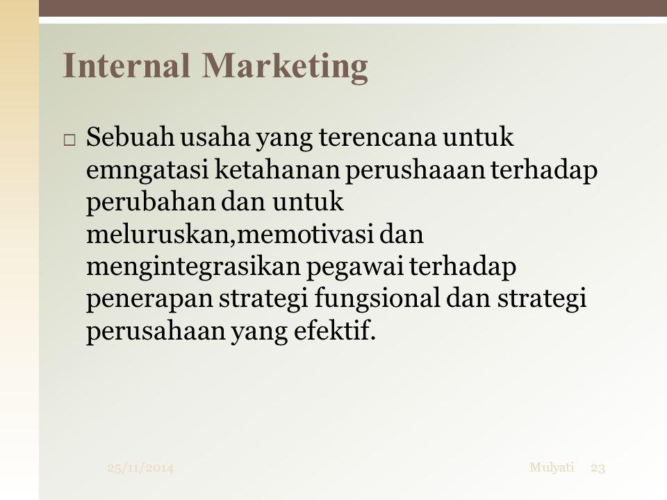 Internal Marketing 25/11/2014Mulyati23  Sebuah usaha yang terencana untuk emngatasi ketahanan perushaaan terhadap perubahan dan untuk meluruskan,memo