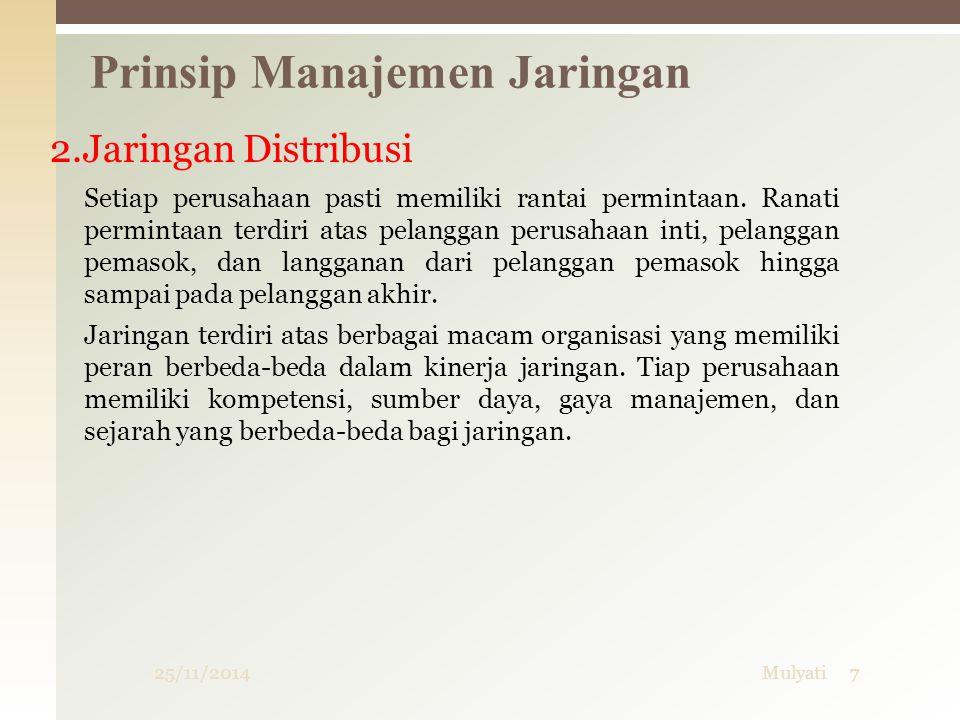 25/11/2014Mulyati7 Prinsip Manajemen Jaringan 2.Jaringan Distribusi Setiap perusahaan pasti memiliki rantai permintaan. Ranati permintaan terdiri atas
