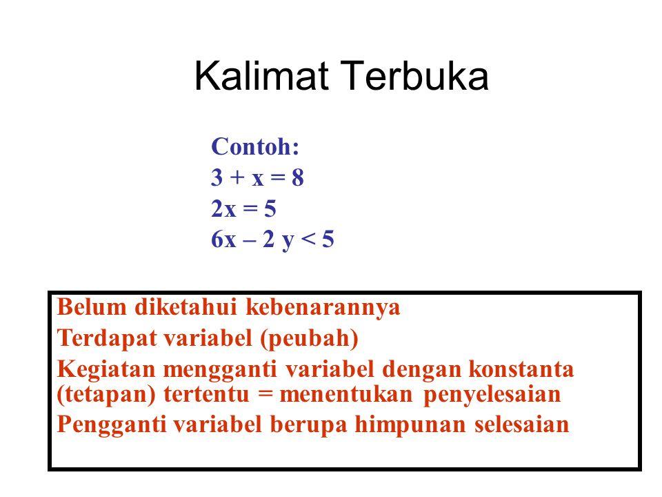 Kalimat Terbuka Belum diketahui kebenarannya Terdapat variabel (peubah) Kegiatan mengganti variabel dengan konstanta (tetapan) tertentu = menentukan p