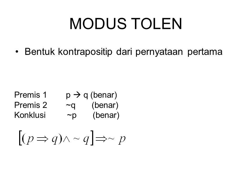 MODUS TOLEN Bentuk kontrapositip dari pernyataan pertama Premis 1 p  q (benar) Premis 2 ~q (benar) Konklusi ~p (benar)