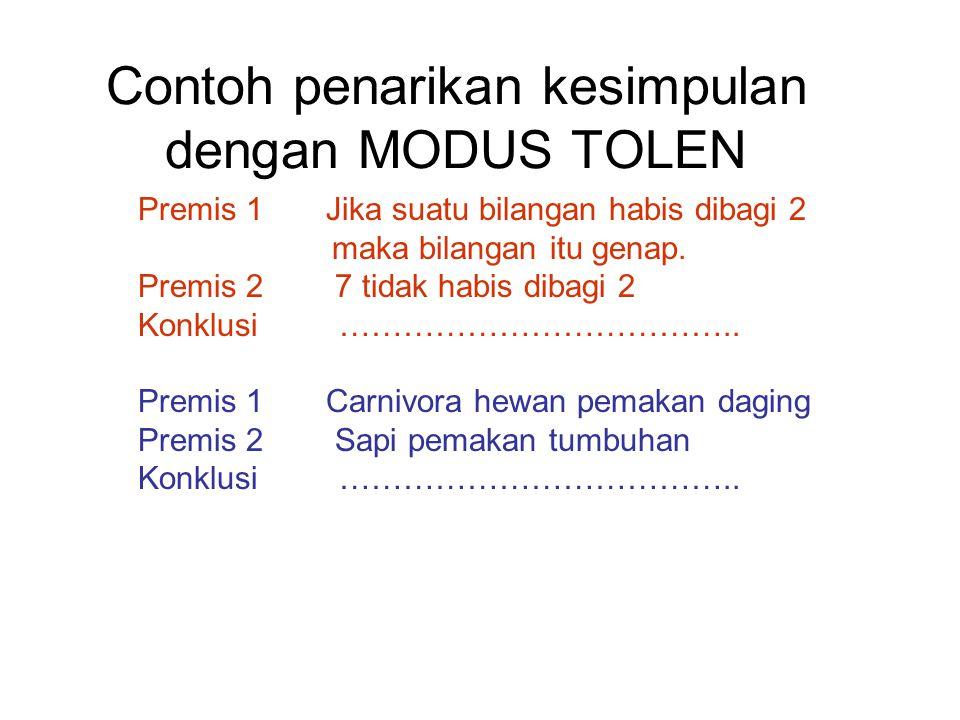 Contoh penarikan kesimpulan dengan MODUS TOLEN Premis 1 Jika suatu bilangan habis dibagi 2 maka bilangan itu genap. Premis 2 7 tidak habis dibagi 2 Ko