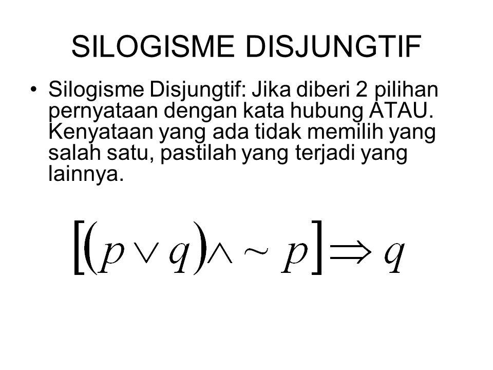 SILOGISME DISJUNGTIF Silogisme Disjungtif: Jika diberi 2 pilihan pernyataan dengan kata hubung ATAU. Kenyataan yang ada tidak memilih yang salah satu,