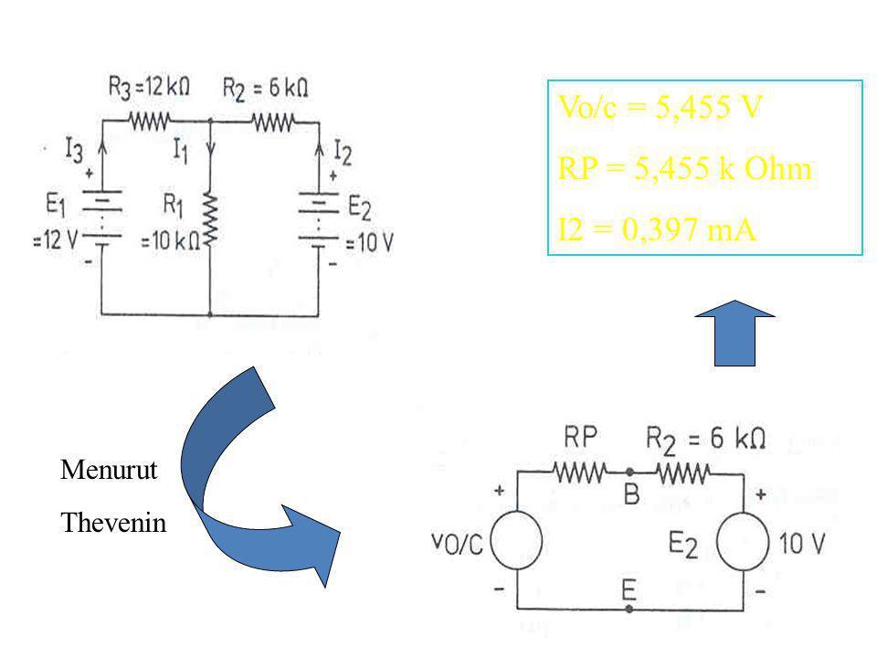 Menurut Thevenin Vo/c = 5,455 V RP = 5,455 k Ohm I2 = 0,397 mA