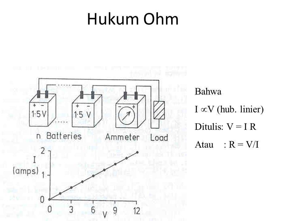 Aturan-aturan Tegangan Jumlah jatuh tegangan dari semua resistor yang ada di dalam sebuah rangkaian seri sama dengan jumlah kenaikan tegangan pada sel-sel listrik di dalam rangkaian Di dalam sebuah rangkaian paralel, terdapat jatuh tegangan yang sama besarnya pada tiap-tiap komponen