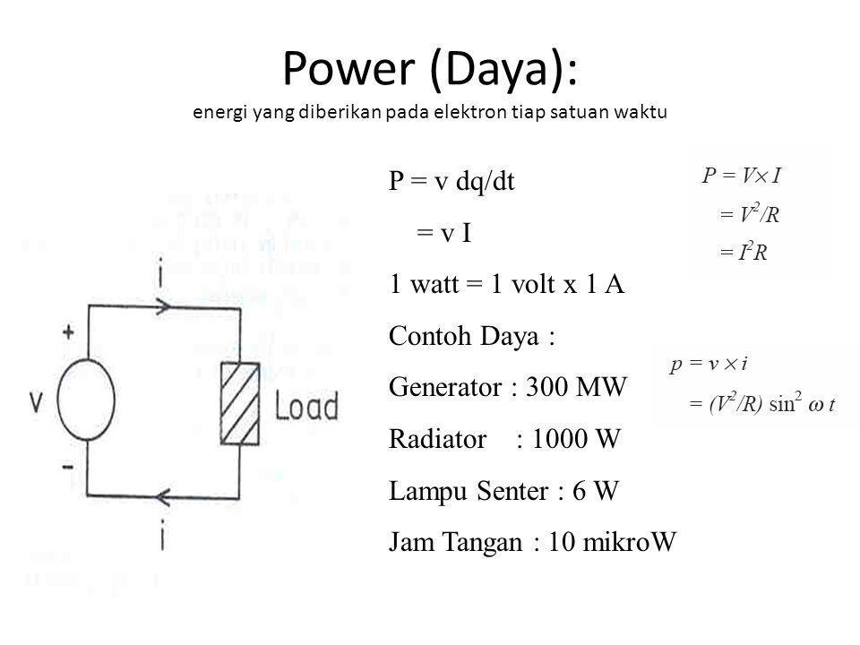 Power (Daya): energi yang diberikan pada elektron tiap satuan waktu P = v dq/dt = v I 1 watt = 1 volt x 1 A Contoh Daya : Generator : 300 MW Radiator