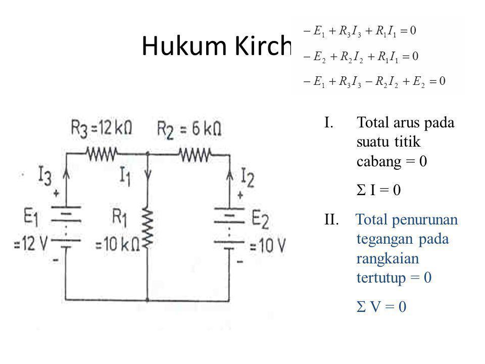 Hukum Kirchhoff I.Total arus pada suatu titik cabang = 0  I = 0 II. Total penurunan tegangan pada rangkaian tertutup = 0  V = 0