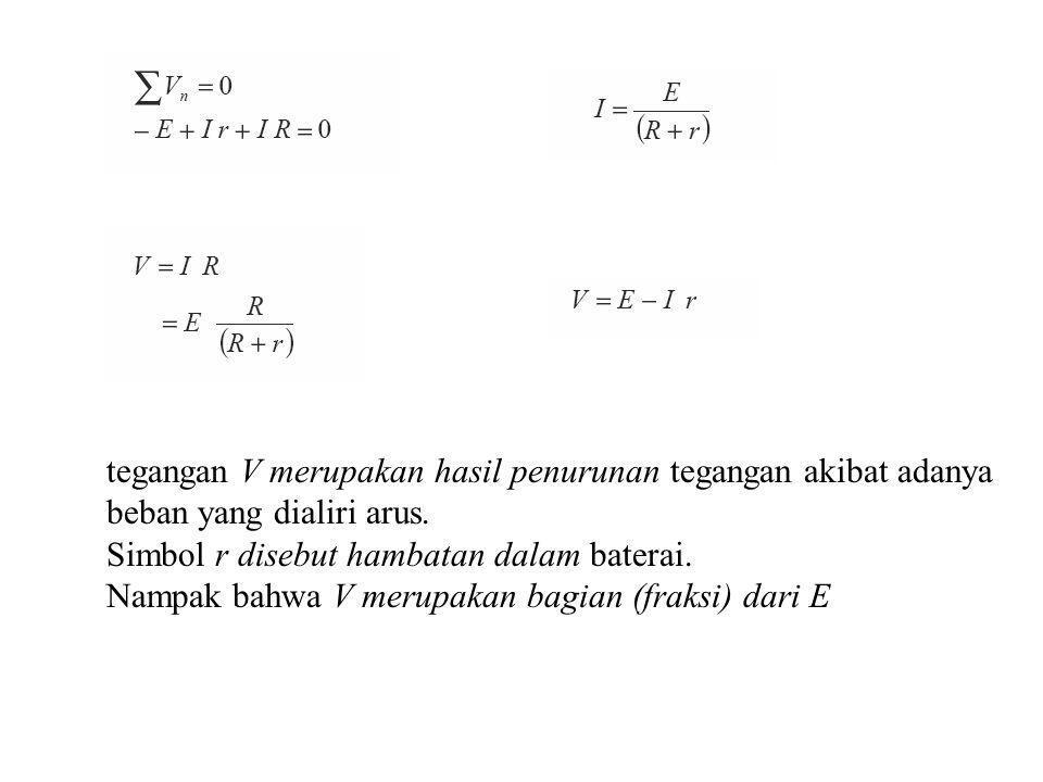 Resistor Seri dan Paralel Seri: masing-masing dilewati arus yang sama RT = R1 +R2 +R3 Paralel: masing-masing mendapat tegangan yang sama 1/RT = 1/R1 + 1/R2 + 1/R3