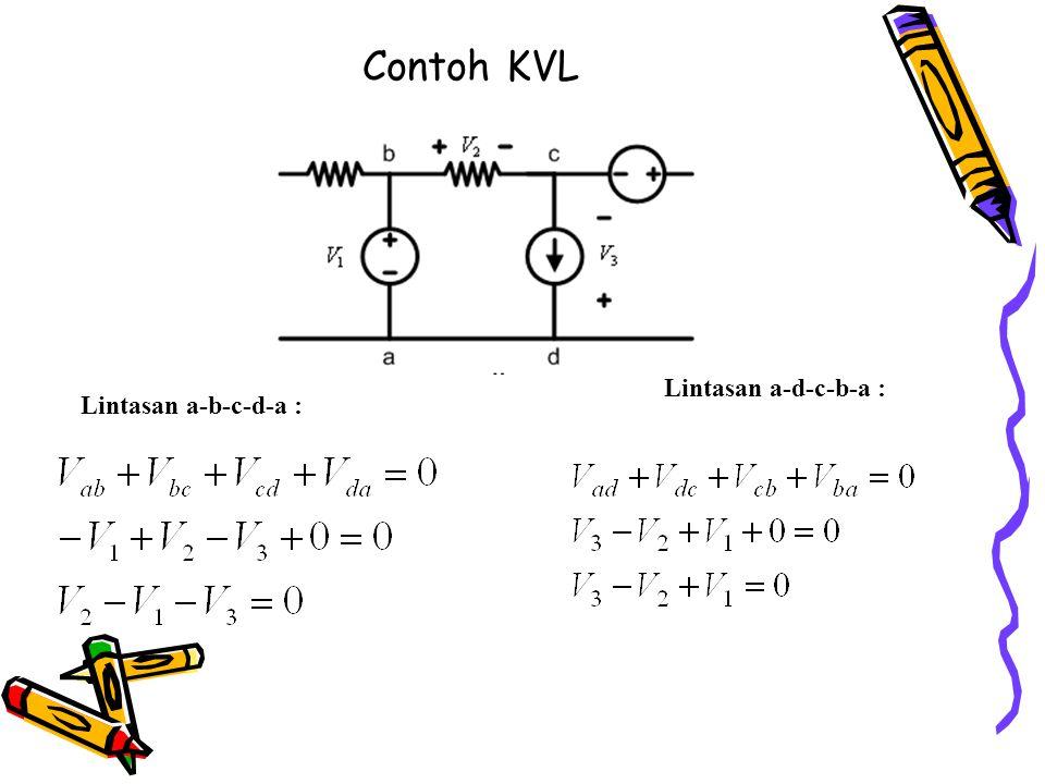 Contoh KVL Lintasan a-b-c-d-a : Lintasan a-d-c-b-a :