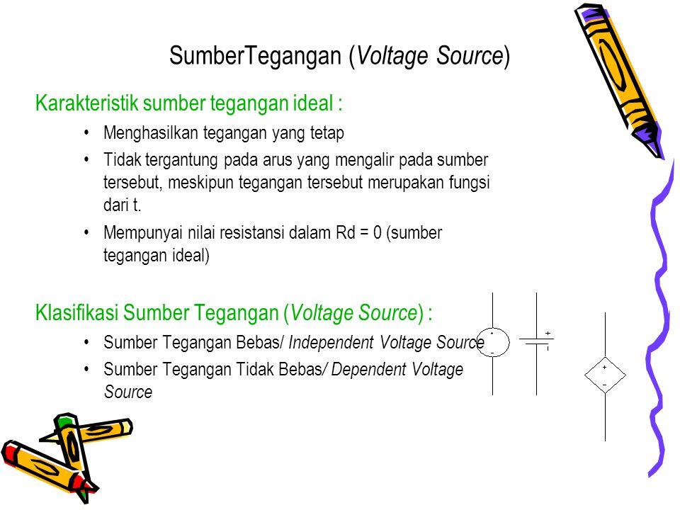SumberTegangan ( Voltage Source ) Karakteristik sumber tegangan ideal : Menghasilkan tegangan yang tetap Tidak tergantung pada arus yang mengalir pada