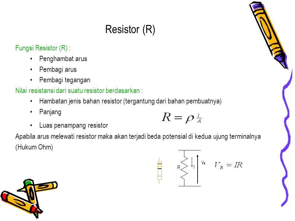 Resistor (R) Fungsi Resistor (R) : Penghambat arus Pembagi arus Pembagi tegangan Nilai resistansi dari suatu resistor berdasarkan : Hambatan jenis bah