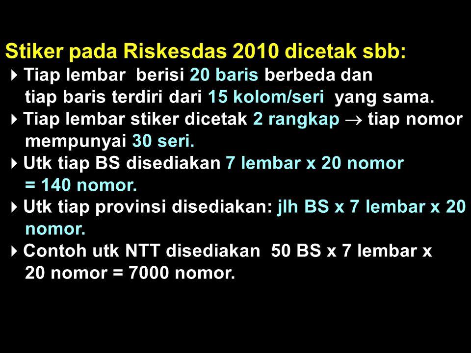  Tiap nomor stiker terdiri dari 8 digit sbb:  2 digit pertama = kode prov, mis utk NTT = 53.