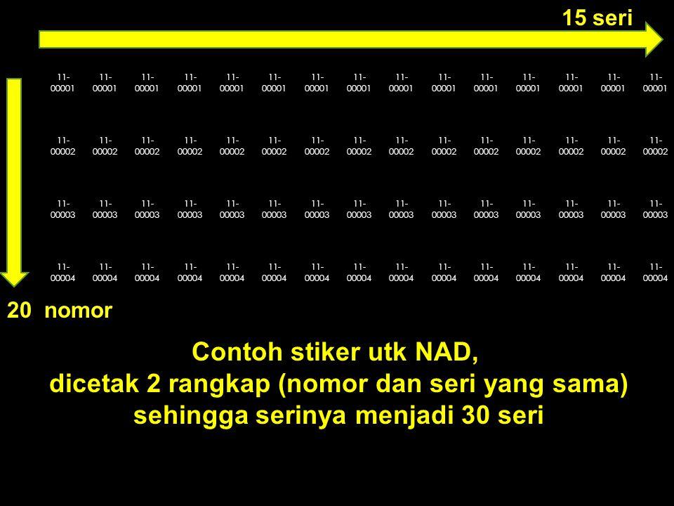 11- 00001 11- 00002 11- 00003 11- 00004 15 seri Contoh stiker utk NAD, dicetak 2 rangkap (nomor dan seri yang sama) sehingga serinya menjadi 30 seri 20 nomor