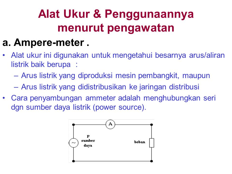 Alat Ukur & Penggunaannya menurut pengawatan a.Ampere-meter.