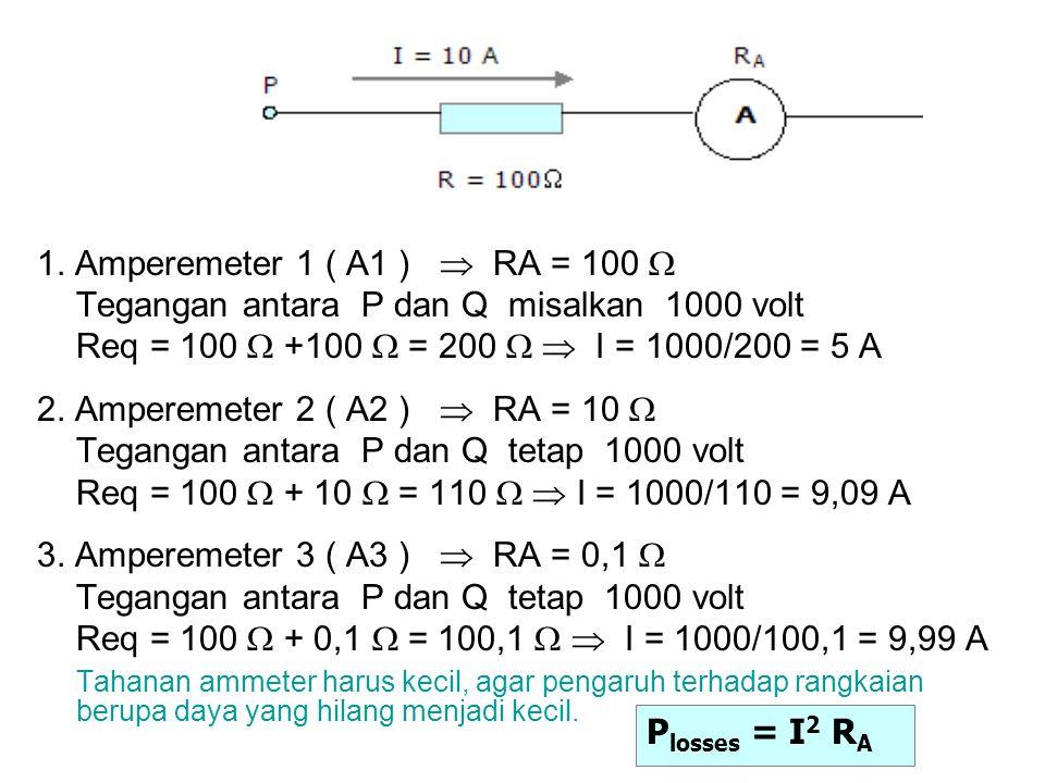 1. Amperemeter 1 ( A1 )  RA = 100  Tegangan antara P dan Q misalkan 1000 volt Req = 100  +100  = 200   I = 1000/200 = 5 A 2. Amperemeter 2 ( A2