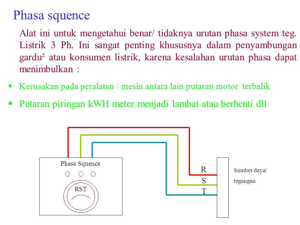 Phasa squence Alat ini untuk mengetahui benar/ tidaknya urutan phasa system teg.