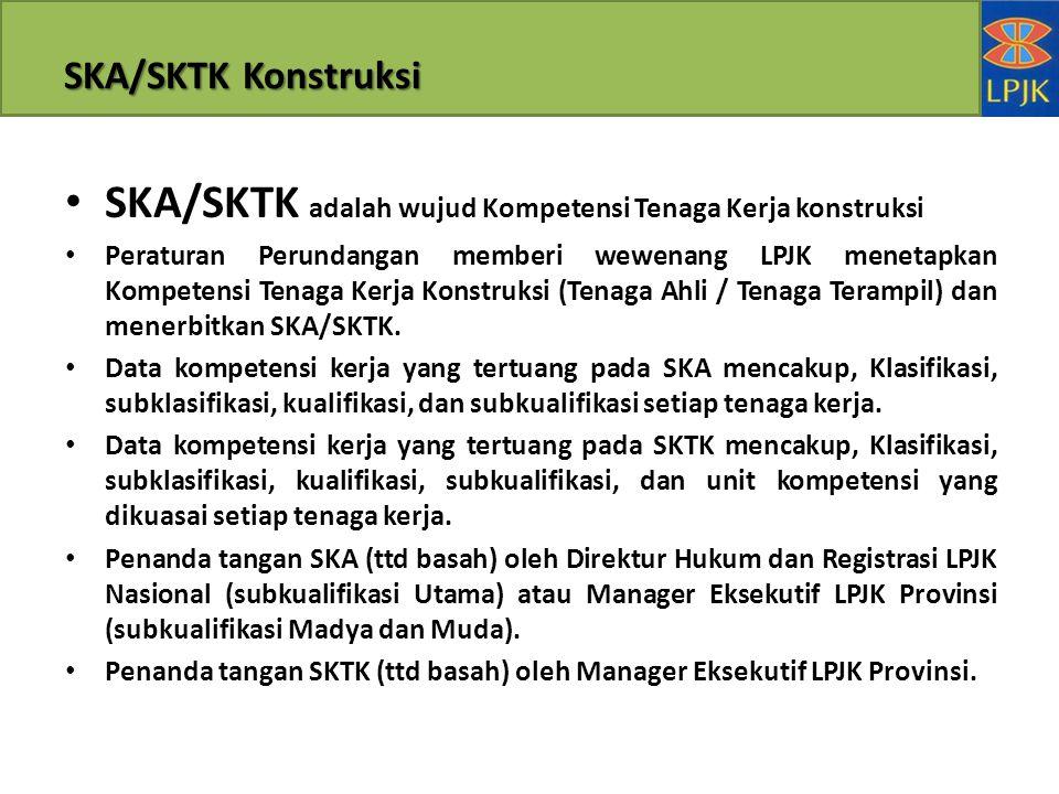 SKA/SKTK Konstruksi SKA/SKTK adalah wujud Kompetensi Tenaga Kerja konstruksi Peraturan Perundangan memberi wewenang LPJK menetapkan Kompetensi Tenaga