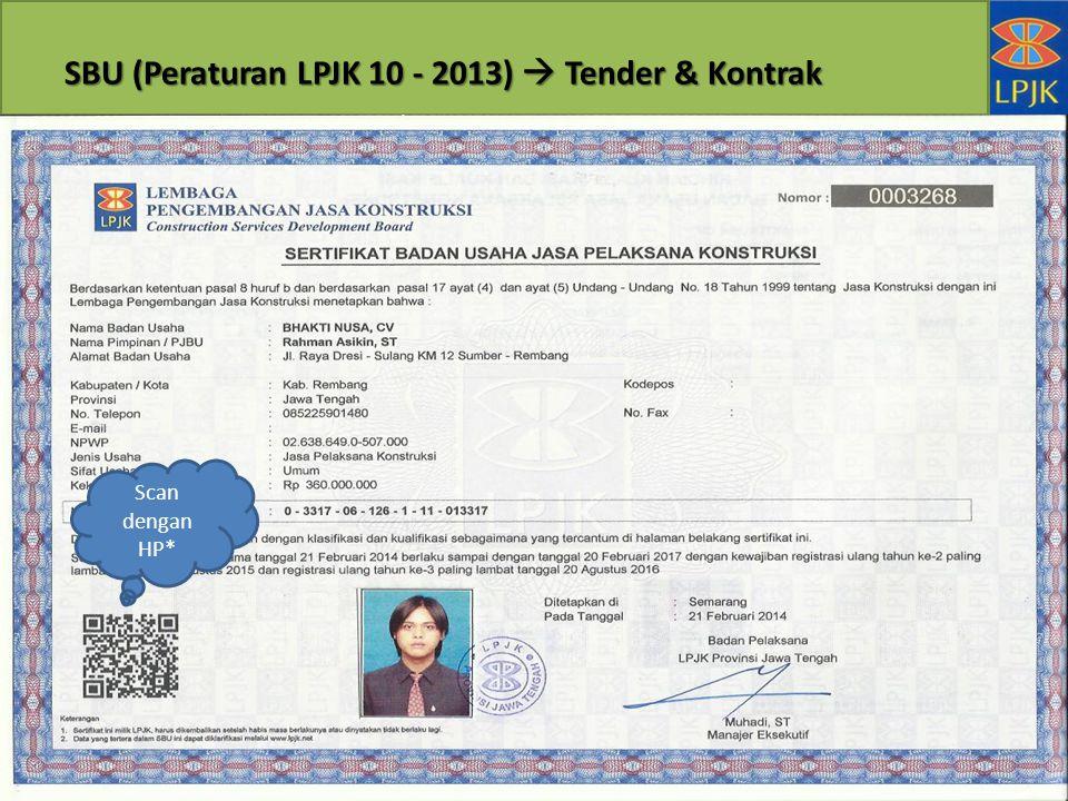 SBU (Peraturan LPJK 10 - 2013)  Tender & Kontrak Scan dengan HP*