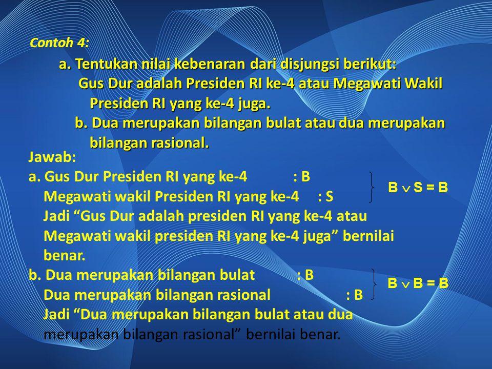 """Contoh 4: Jawab: a. Gus Dur Presiden RI yang ke-4 : B Megawati wakil Presiden RI yang ke-4 : S Jadi """"Gus Dur adalah presiden RI yang ke-4 atau Megawat"""