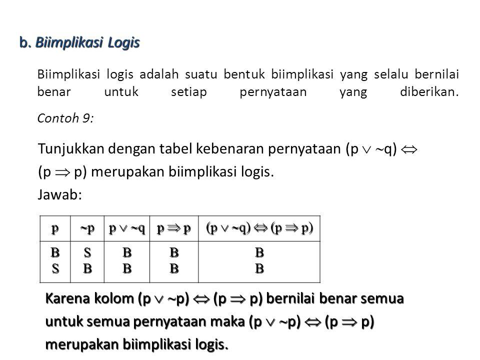 Biimplikasi logis adalah suatu bentuk biimplikasi yang selalu bernilai benar untuk setiap pernyataan yang diberikan. Contoh 9: Tunjukkan dengan tabel