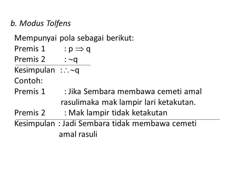b. Modus Tolfens Mempunyai pola sebagai berikut: Premis 1 : p  q Premis 2 :  q Kesimpulan :  q Contoh: Premis 1 : Jika Sembara membawa cemeti amal