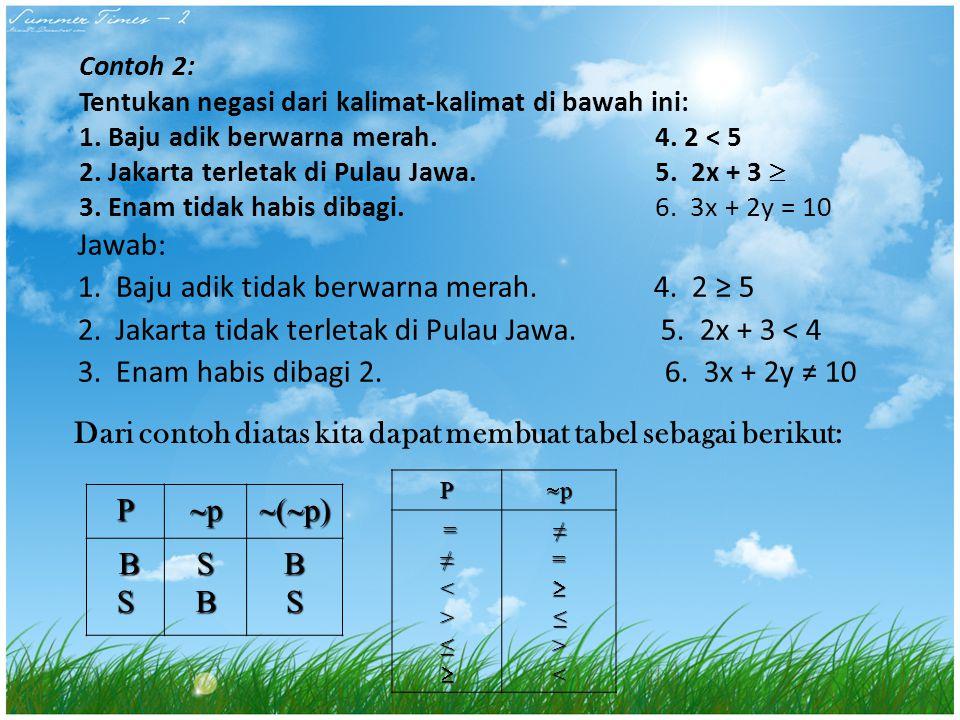 Contoh 2: Tentukan negasi dari kalimat-kalimat di bawah ini: 1. Baju adik berwarna merah. 4. 2 < 5 2. Jakarta terletak di Pulau Jawa.5. 2x + 3  3. En