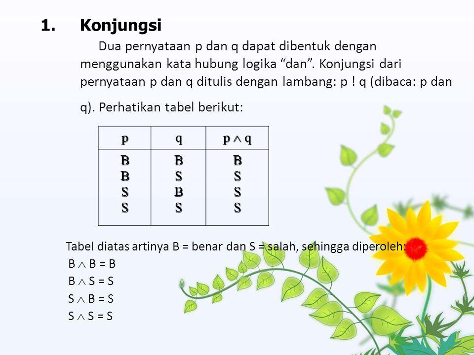 "1.Konjungsi Dua pernyataan p dan q dapat dibentuk dengan menggunakan kata hubung logika ""dan"". Konjungsi dari pernyataan p dan q ditulis dengan lamban"