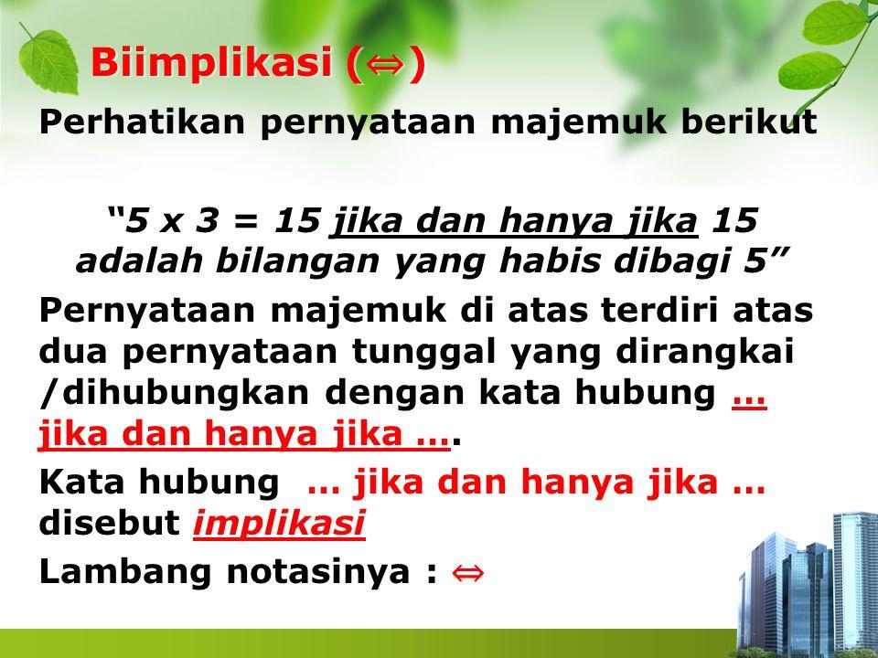 """Biimplikasi ( ⇔ ) Perhatikan pernyataan majemuk berikut """"5 x 3 = 15 jika dan hanya jika 15 adalah bilangan yang habis dibagi 5"""" Pernyataan majemuk di"""
