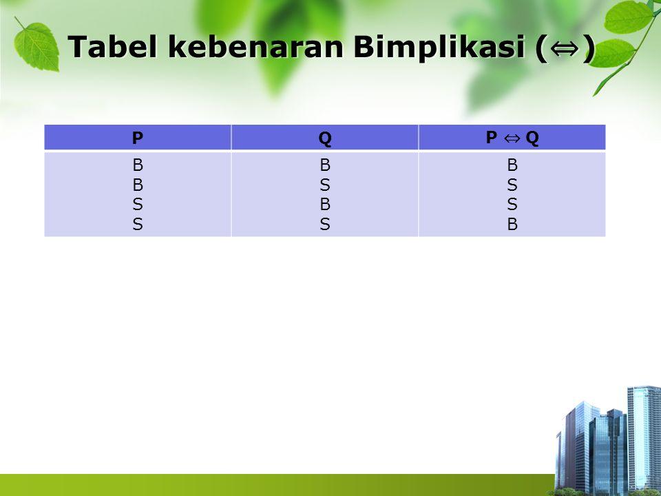 Contoh 1 Tentukan nilai kebenarannya P ; 2 bilangan prima (B) Q ; √7 adalah bilangan rasional (S) P ⇔ V Q : B ⇔ S = S 2 bilangan prima jika dan hanya jika √7 adalah bilangan rasional (S)