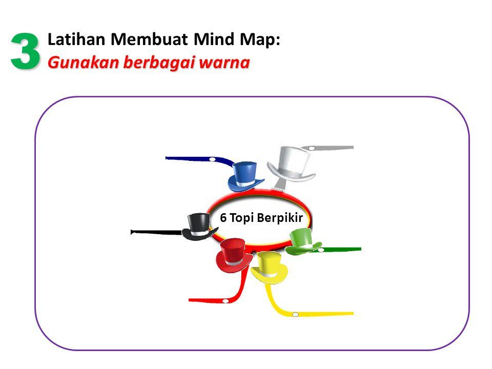 Gunakan berbagai warna Latihan Membuat Mind Map: Gunakan berbagai warna 6 Topi Berpikir 3
