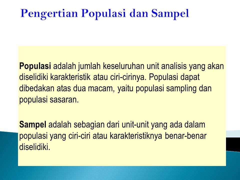 Populasi adalah jumlah keseluruhan unit analisis yang akan diselidiki karakteristik atau ciri-cirinya. Populasi dapat dibedakan atas dua macam, yaitu