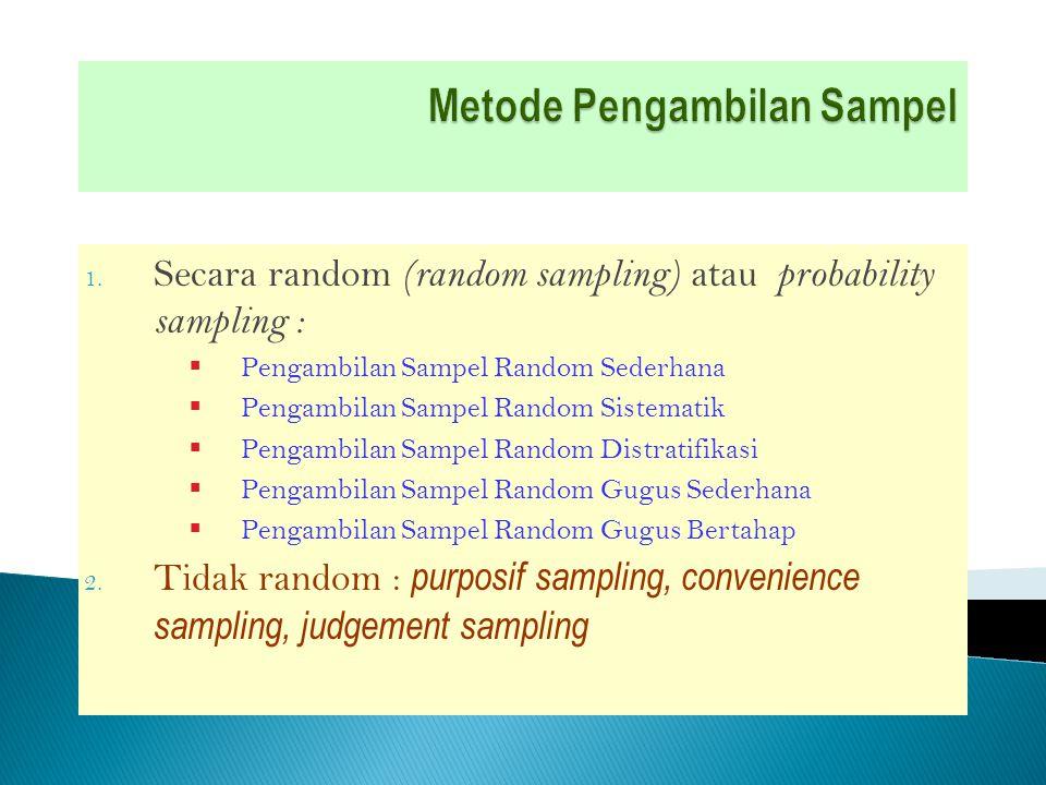 Sampel yang diambil sedemikian rupa sehingga setiap unit penelitian atau satuan elementer dari populasi mempunyai kesempatan atau peluang yang sama untuk terpilih sebagai sampel Melalui cara :  Pengundian  tabel bilangan random  menggunakan komputer, dll Digunakan jika unit-unit elementer dalam populasi mempunyai karakteristik yang homogen