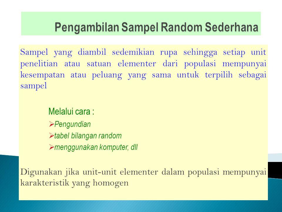  Penarikan sample secara acak (Random Sampling) oSemua unsur dalam populasi mempunyai kesempatan terpilih menjadi sample.