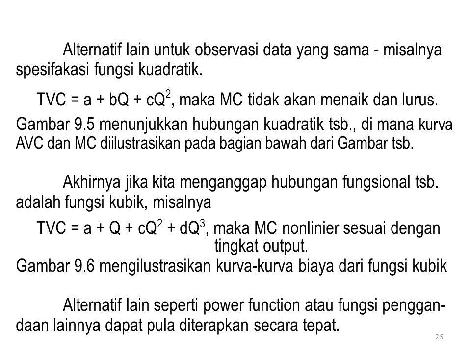 26 Alternatif lain untuk observasi data yang sama - misalnya spesifakasi fungsi kuadratik. TVC = a + bQ + cQ 2, maka MC tidak akan menaik dan lurus. G