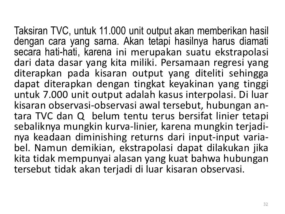 32 Taksiran TVC, untuk 11.000 unit output akan memberikan hasil dengan cara yang sarna. Akan tetapi hasilnya harus diamati secara hati-hati, karena in