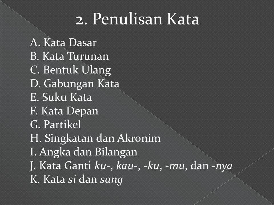 A. Kata Dasar B. Kata Turunan C. Bentuk Ulang D. Gabungan Kata E. Suku Kata F. Kata Depan G. Partikel H. Singkatan dan Akronim I. Angka dan Bilangan J