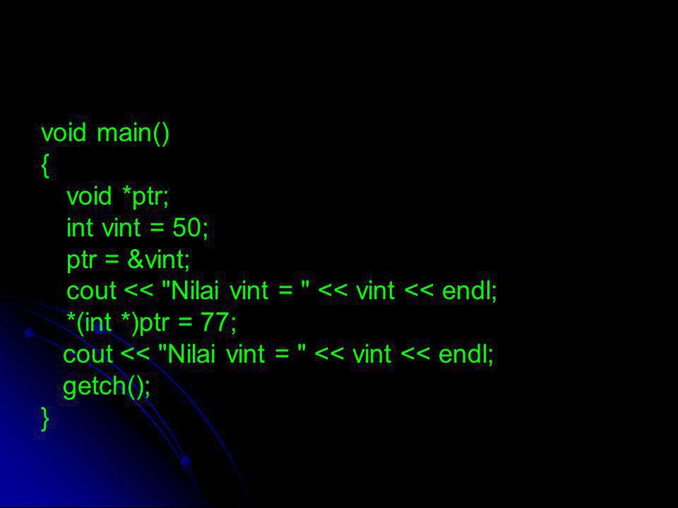 void main() { void *ptr; int vint = 50; ptr = &vint; cout <<