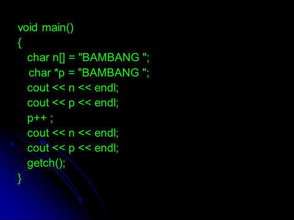 void main() { char n[] =