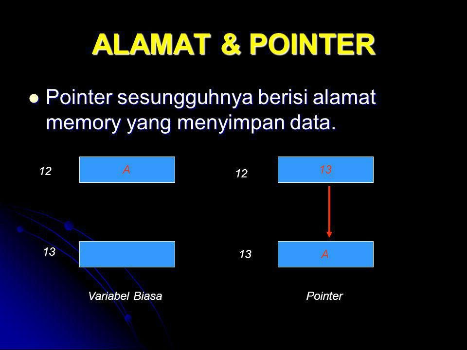 ALAMAT & POINTER Pointer sesungguhnya berisi alamat memory yang menyimpan data. Pointer sesungguhnya berisi alamat memory yang menyimpan data. A13 A V