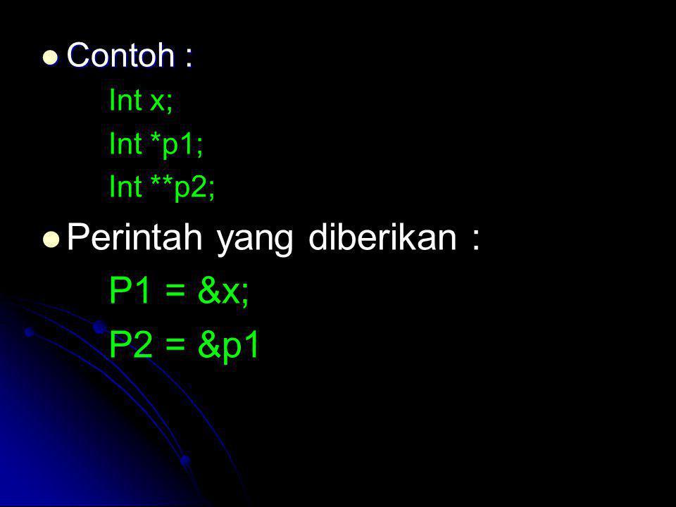 Contoh : Contoh : Int x; Int *p1; Int **p2; Perintah yang diberikan : P1 = &x; P2 = &p1