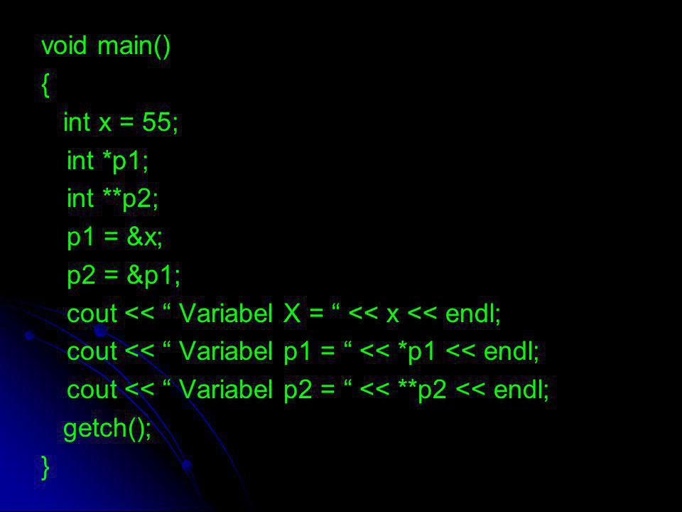 "void main() { int x = 55; int *p1; int **p2; p1 = &x; p2 = &p1; cout << "" Variabel X = "" << x << endl; cout << "" Variabel p1 = "" << *p1 << endl; cout"