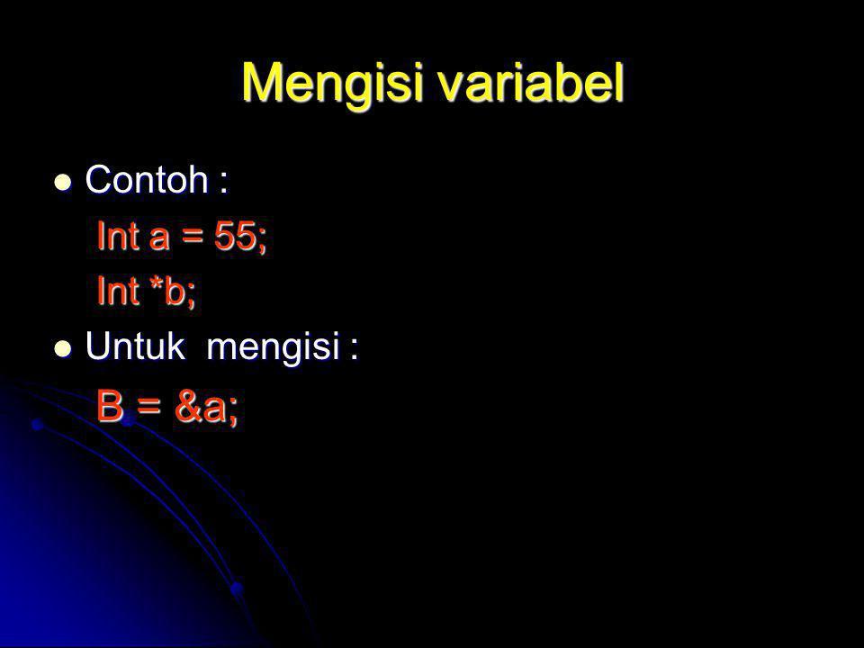 Mengisi variabel Contoh : Contoh : Int a = 55; Int *b; Untuk mengisi : Untuk mengisi : B = &a;