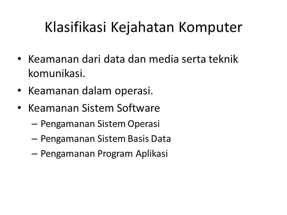 Klasifikasi Kejahatan Komputer Keamanan dari data dan media serta teknik komunikasi. Keamanan dalam operasi. Keamanan Sistem Software – Pengamanan Sis