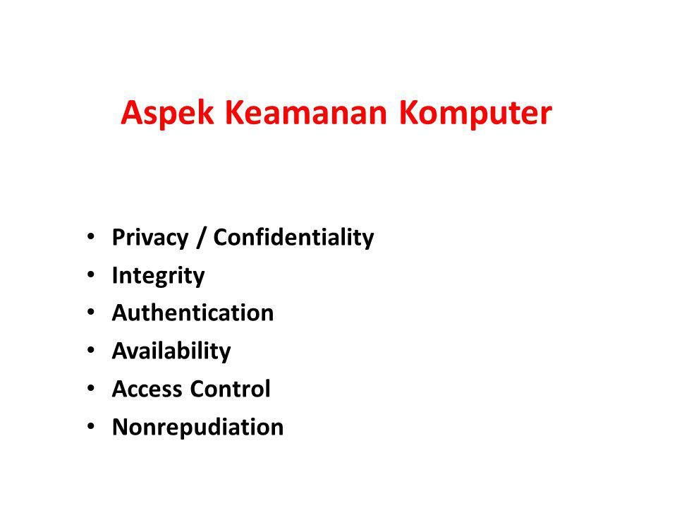 Aspek Keamanan Komputer Privacy / Confidentiality Integrity Authentication Availability Access Control Nonrepudiation