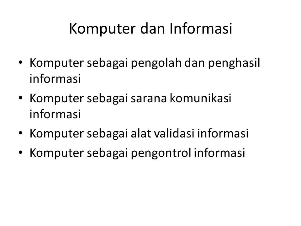 Komputer dan Informasi Komputer sebagai pengolah dan penghasil informasi Komputer sebagai sarana komunikasi informasi Komputer sebagai alat validasi i