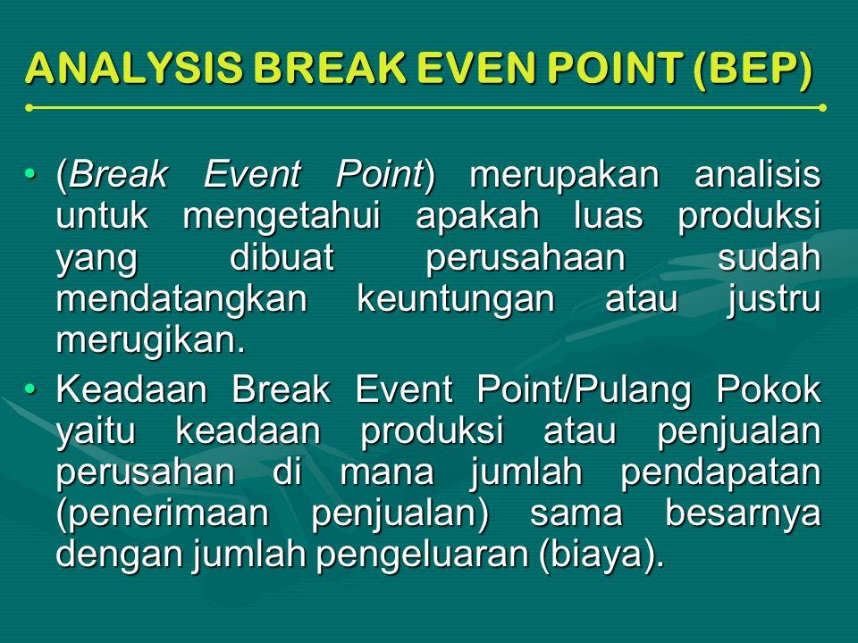 ANALYSIS BREAK EVEN POINT (BEP) (Break Event Point) merupakan analisis untuk mengetahui apakah luas produksi yang dibuat perusahaan sudah mendatangkan keuntungan atau justru merugikan.(Break Event Point) merupakan analisis untuk mengetahui apakah luas produksi yang dibuat perusahaan sudah mendatangkan keuntungan atau justru merugikan.