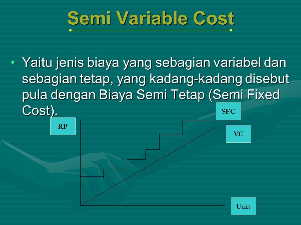 Semi Variable Cost Yaitu jenis biaya yang sebagian variabel dan sebagian tetap, yang kadang-kadang disebut pula dengan Biaya Semi Tetap (Semi Fixed Co