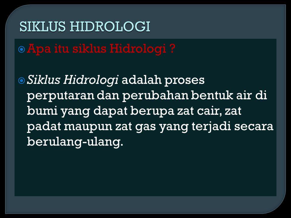  Apa itu siklus Hidrologi ?  Siklus Hidrologi adalah proses perputaran dan perubahan bentuk air di bumi yang dapat berupa zat cair, zat padat maupun