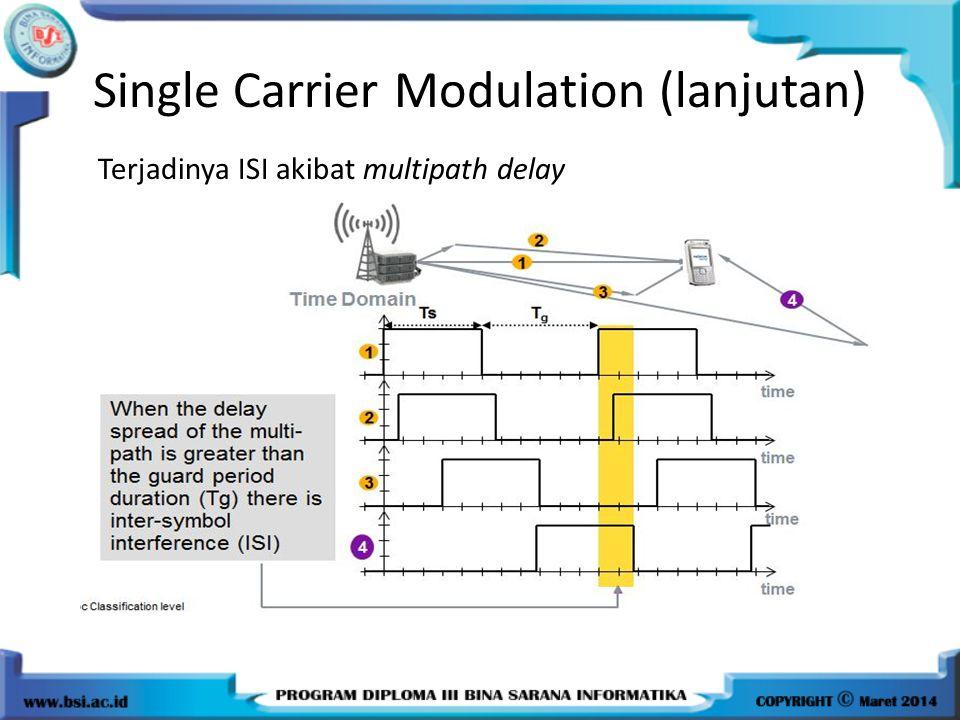 Single Carrier Modulation (lanjutan) Terjadinya ISI akibat multipath delay